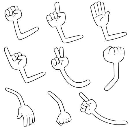 Vector set of cartoon arms. Illustration