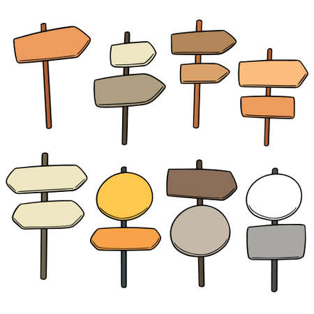 vector set of direction posts Illustration