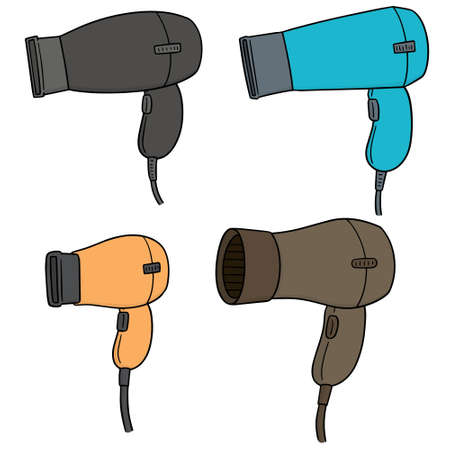 vector set of hair dryers