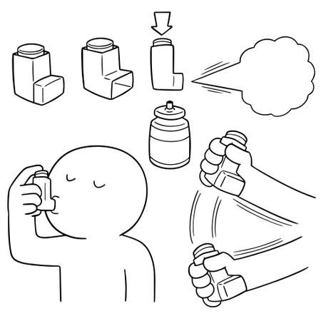 vector set of inhalation medicines Иллюстрация