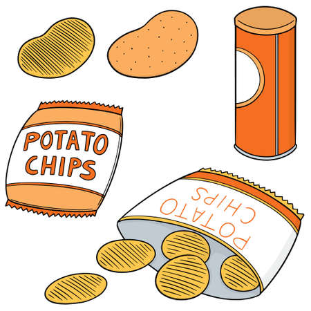 vector set of potato chips