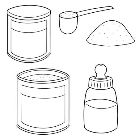 vector set of milk powder