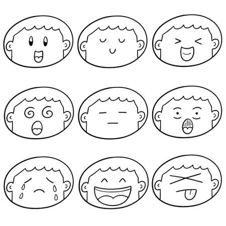 Vector set of boy's face