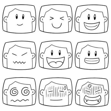 vector set of cartoon face  イラスト・ベクター素材