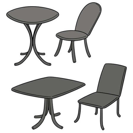 vector set of table and chair Illustration