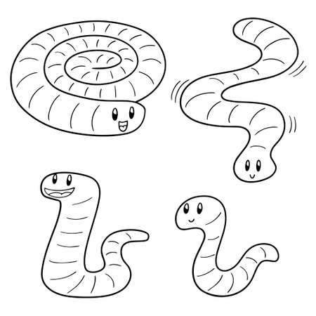 vector set of worm