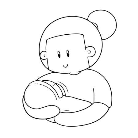 vector of breast feeding mother and baby on white background.  イラスト・ベクター素材