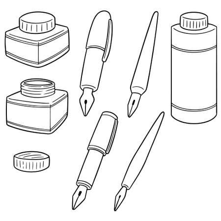 Ink and fountain pen vector illustration Illusztráció