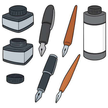 Vector set of ink and fountain pen in color