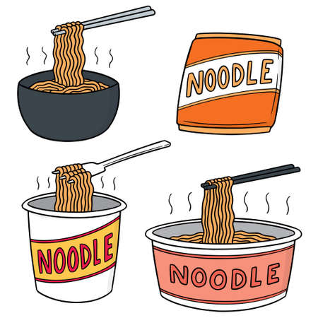 Vector set of noodle in color Çizim