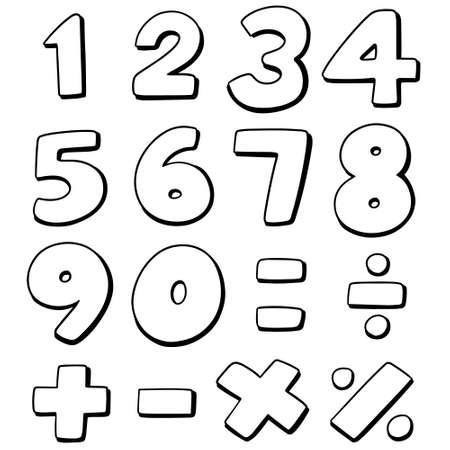 Vector set of number in white Ilustração
