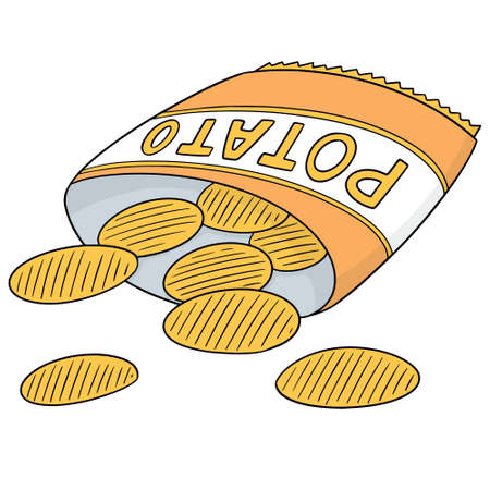 Vector of potato chips in color