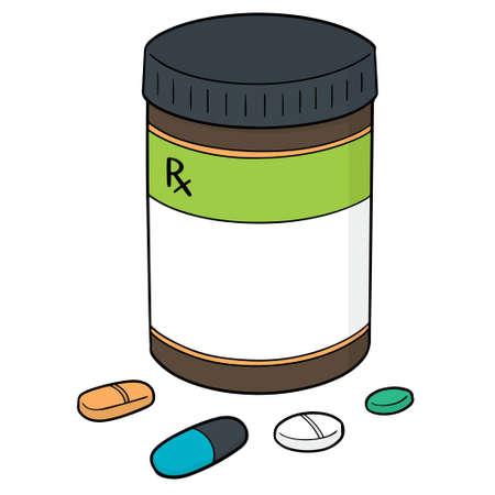 Vector set of medicine and medicine bottle Illustration