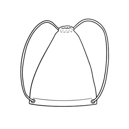 Linear illustration of Adjustable drawstring-style shoulder straps backpack, isolated on white.