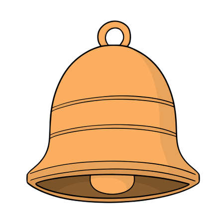 Hand-drawn colored vector illustration of a bell, isolated on white