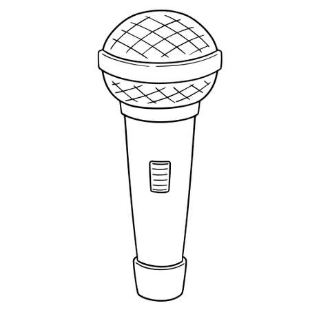 vector of microphone black and white