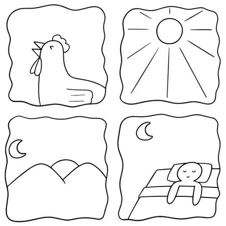 vector set of time of the day concept on white background. Stock Illustratie