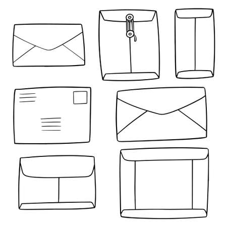 vector set of envelope black and white vector illustration