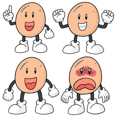 vector set of egg cartoon