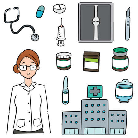 vector set of hospital, hospital equipment and medical staff Stock Illustratie