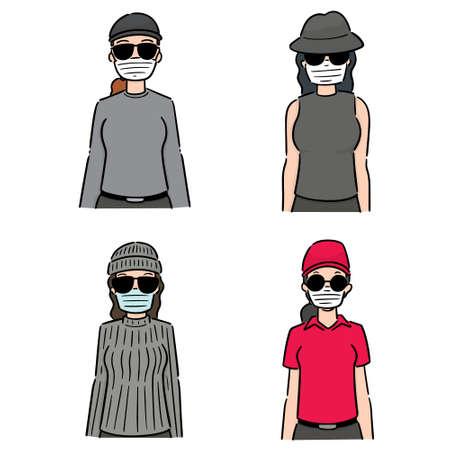 vector, conjunto, de, mujeres, utilizar, máscara protectora médica