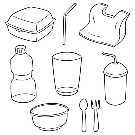 set of non-biodegradable product Illustration