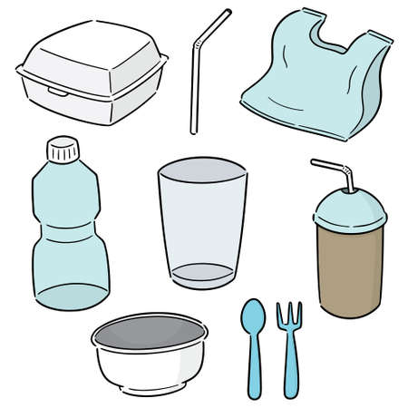 set of non-biodegradable product Ilustracja