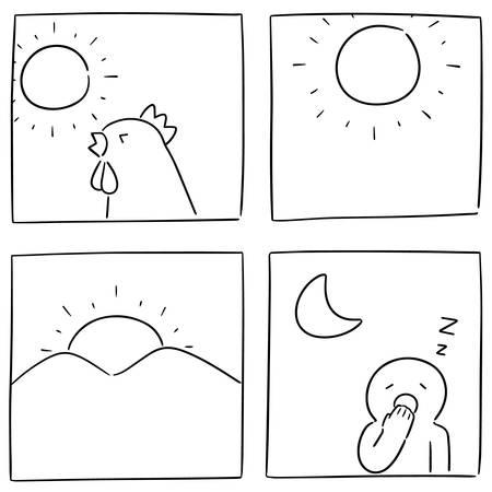 vector set van tijd van de dag Vector Illustratie