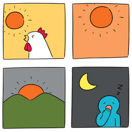 vector set of time of the day Ilustração