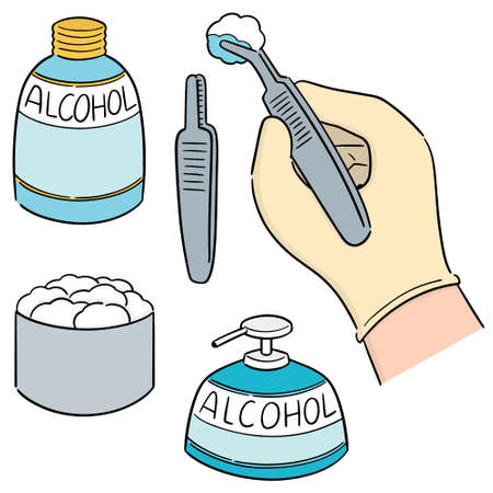 ensemble de vecteurs de forcep, alcool et coton stérile Vecteurs