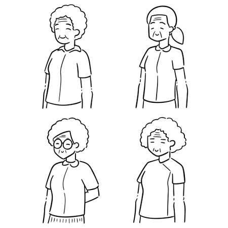 vector set of elder women