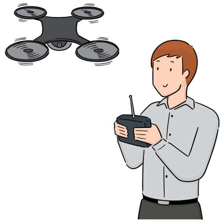 vector set of man using drone Ilustracja