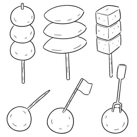 wektor zestaw klopsików, kulek rybnych, kulek wieprzowych i kulek krewetkowych Ilustracje wektorowe