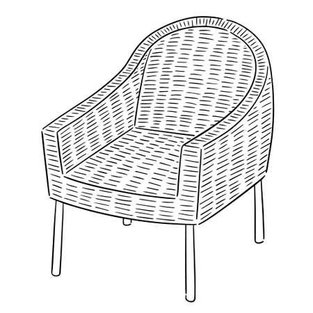 vector conjunto de silla de mimbre Ilustración de vector