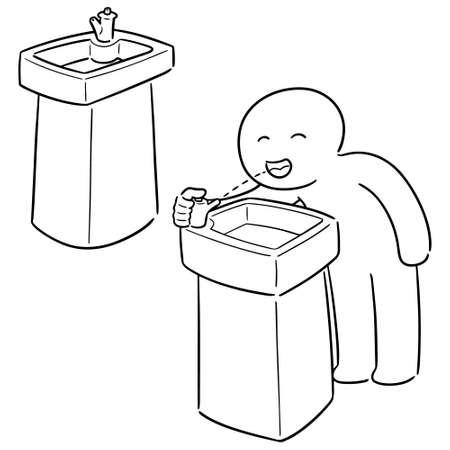 vector set of drinking water fountain Stock Illustratie