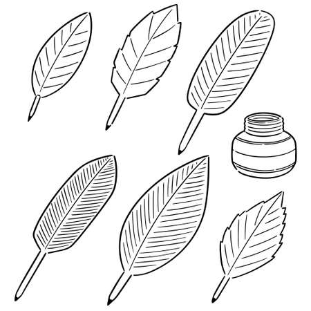 vector set of quill and ink