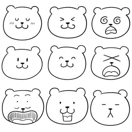 vector set of bear face