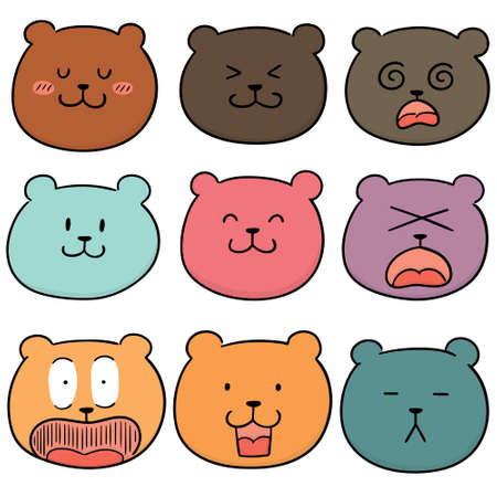 vector set of bear face