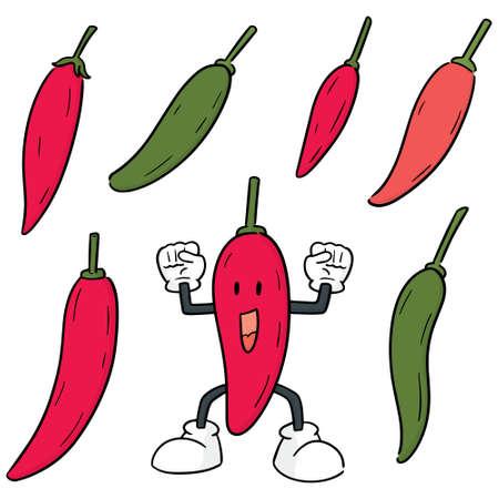 vector set of chilli