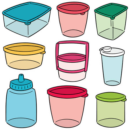 vector set of plastic container
