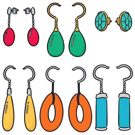 vector set of earrings Illustration
