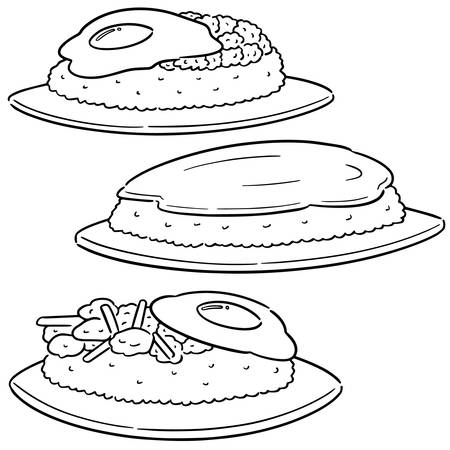 vector set of fried egg and rice Illustration