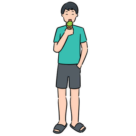 vector set of man eating ice cream Ilustração