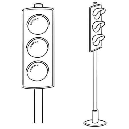 vector set of traffic light Çizim