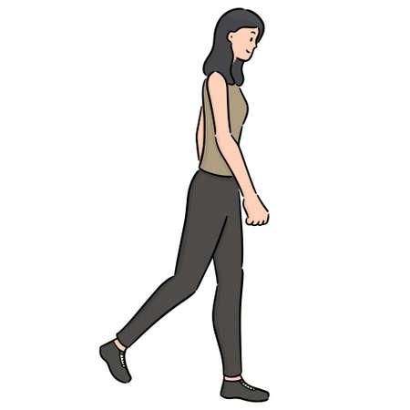 vettore di donna che cammina