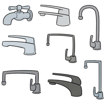 vector set of faucet Illustration