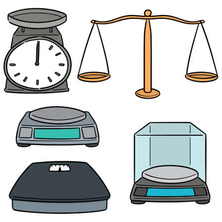 vector set of weighing machine Stock Illustratie