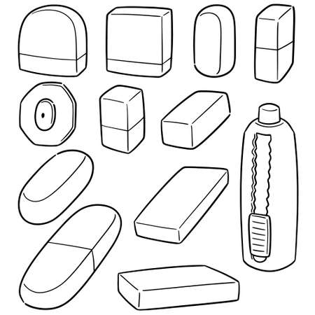 vector set of eraser