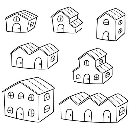vector set of building