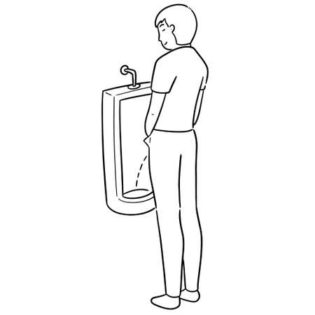 vector of man peeing